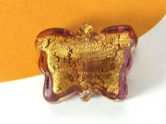 1 Perle de Murano Grand Papillon Marron Clair - 21 par 17 mm