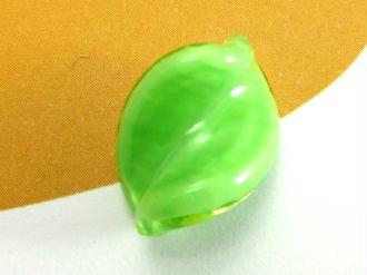 1 Perle de Murano - Petite Feuille Vert Pomme - 15 par 10 mm