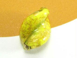 1 Perle de Murano - Petite Feuille Jaune Rotto - 15 par 10 mm