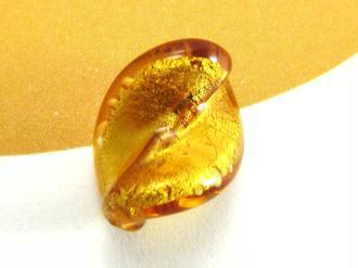 1 Perle de Murano - Petite Feuille Ambre - 15 par 10 mm