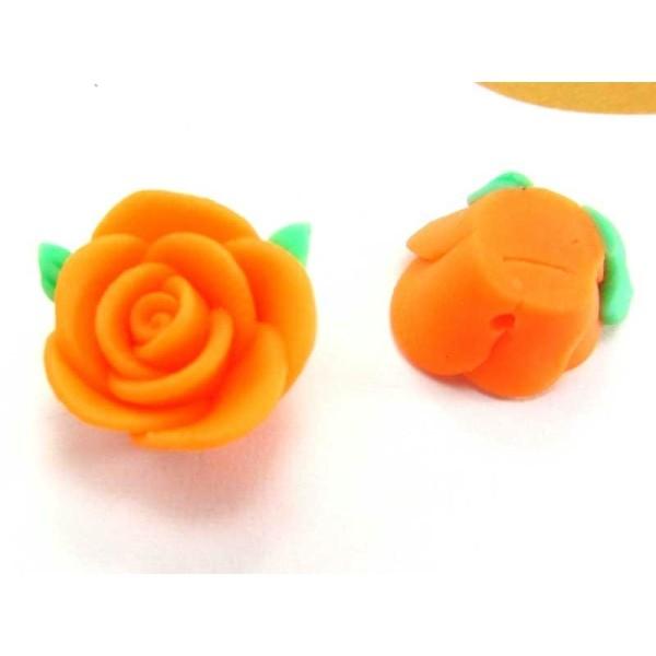 1 Perle Fleur Orange en Pâte Polymère -  14 mm - Photo n°1