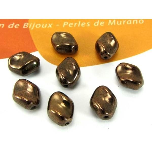 Lot de 10 Perles Murano Grains Café Chocolat - 10*8 mm - Photo n°1