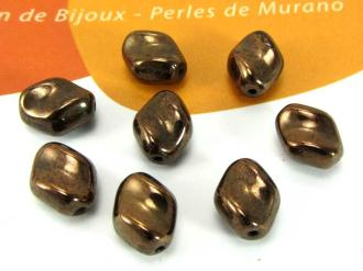 Lot de 10 Perles Murano Grains Café Chocolat - 10*8 mm