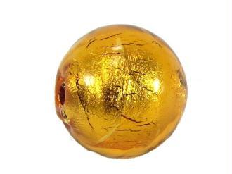 1 Perle de Murano  Ronde Ambre - 8mm