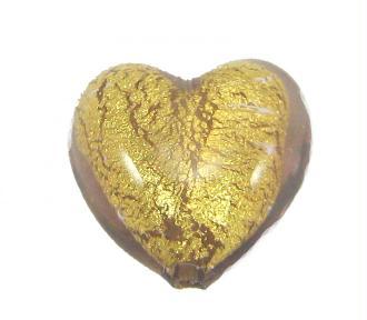 1 Perle de Murano Coeur Marron clair - 14 mm