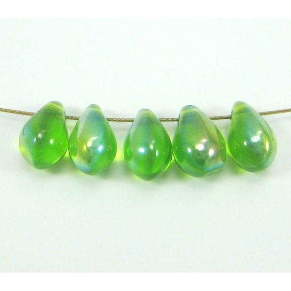 Vert 50 Perles de Bohème en verre craquelée 8/<9 mm