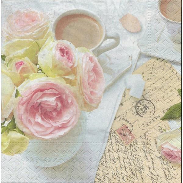 4 Serviettes en papier Café Rose écriture Format Lunch Decoupage Decopatch 414-RBK Nuova R2S - Photo n°1