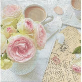 4 Serviettes en papier Café Rose écriture Format Lunch