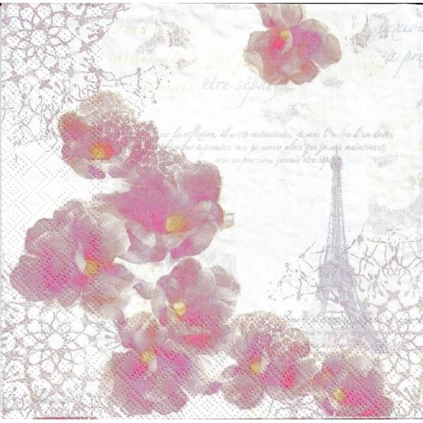 4 Serviettes en papier Paris Romantique Fleurs Format Lunch - Photo n°2