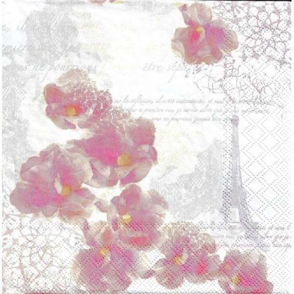 4 Serviettes en papier Paris Romantique Fleurs Format Lunch - Photo n°1