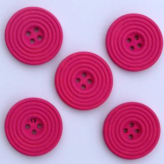 6 x Boutons en Bois Spiral 25mm : Rose Foncée - 02282