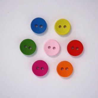 Boutons en Bois Multicolore 10mm Lot de 10 - 001928