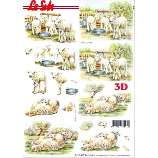 Feuille 3D à découper A4 Mouton Agneau - Photo n°1