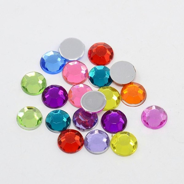 100 Cabochon Strass A Coller Multicolore 8mm - Photo n°1