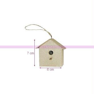 Petit Nichoir 6 cm  x 2,5 cm x haut. 7 cm en papier mâché, abri à oiseau &agrave