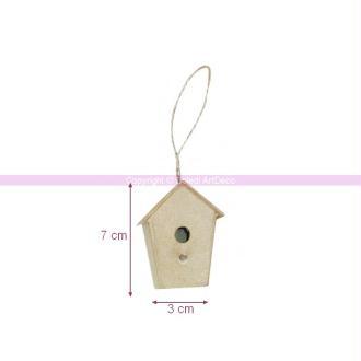 Petit Nichoir 3 cm haut. 7 cm en papier mâché, abri à oiseau à customiser
