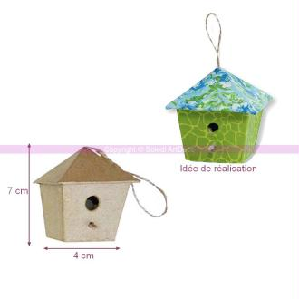 Petit Nichoir 4 cm haut. 7 cm en papier mâché, abri à oiseau à customiser