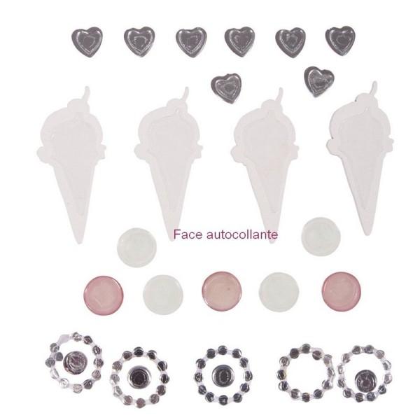Stickers autocollants à relief Glaces et Strass , 24 pièces de 0,8 cm à 4 cm - Photo n°2