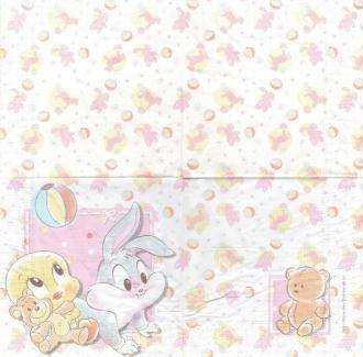 4 Serviettes en papier Naissance Titi Bunny fille Format Lunch