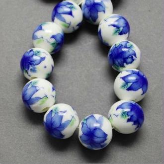 15 perles céramique porcelaine rondes 1 cm FLEUR BLEUE