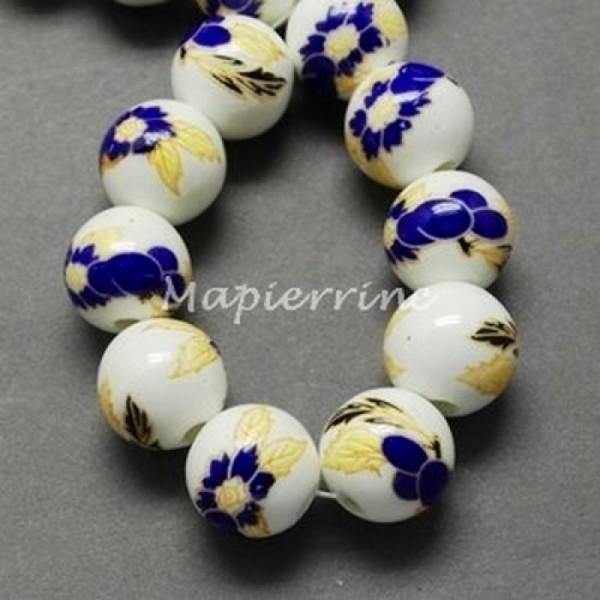 15 perles céramique porcelaine rondes 1 cm FLEUR DECORATION ASIE - Photo n°1