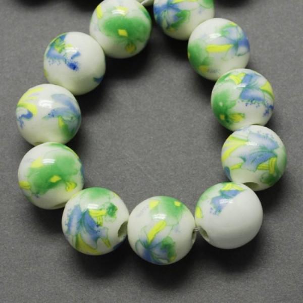 Lot de 4 perles en porcelaine 20mm vert