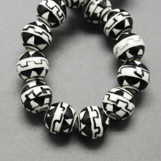 15 perles céramique porcelaine rondes 1 cm AZTEC