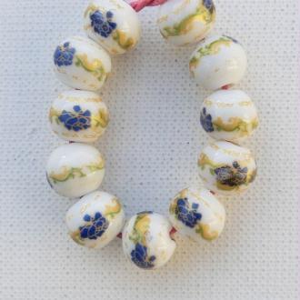 10 perles céramique porcelaine rondes 1,2 cm FLEUR BLEU DECORATION DORE