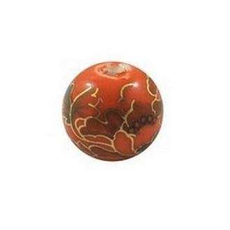 10 perles céramique porcelaine rondes 1 cm LA CHINE DECORATION ROUGE