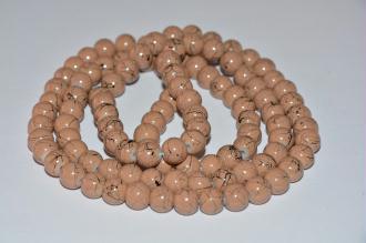 1 Fil De 100 Perles En Verre Marron Tréfilé Noir 8mm