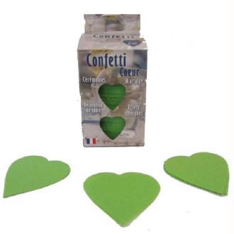 Confettis mariage cœur vert anis en boite décorée 100 grammes