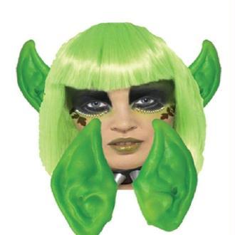 Paire d oreilles d alien verte