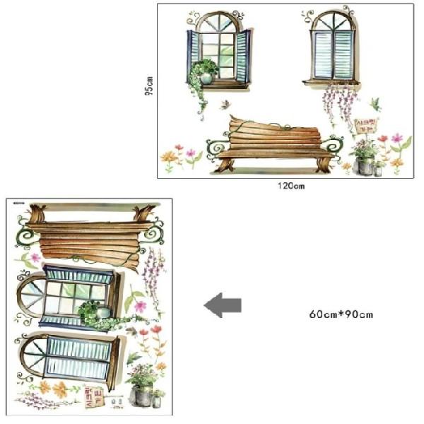 Sticker 3D adhésif 2 fausses fenêtres printanières avec banc (120 x 95 cm) - Photo n°2