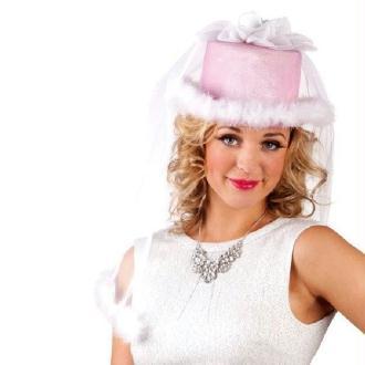 Chapeau rose de mariée avec voile