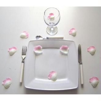 100 pétales roses et ivoire - Diam. 5 cm