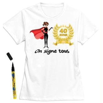 T-Shirt femme 40 ans à dédicacer - Taille S