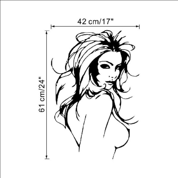 Sticker adhésif belle femme nue sexy (42 x 61 cm) - Photo n°2