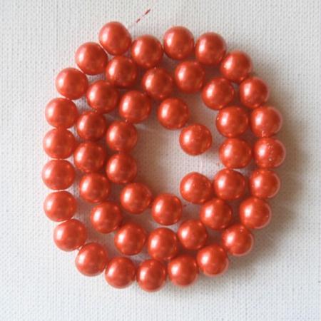 65 perles rondes en verre nacré 10 mm ROUGE - MAPIERRINE