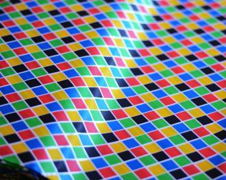 Tissu Arlequin Multicolore Petit Motif 100% Polyester au mètre, Carnaval, Déguisement