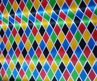 Tissu Arlequin Multicolore Grand Motif 100% Polyester au mètre, Carnaval, Déguisement