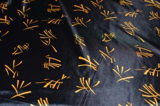 Tissu Chibois Noir Motif Jaune 100% Polyester au mètre, Carnaval, Déguisement