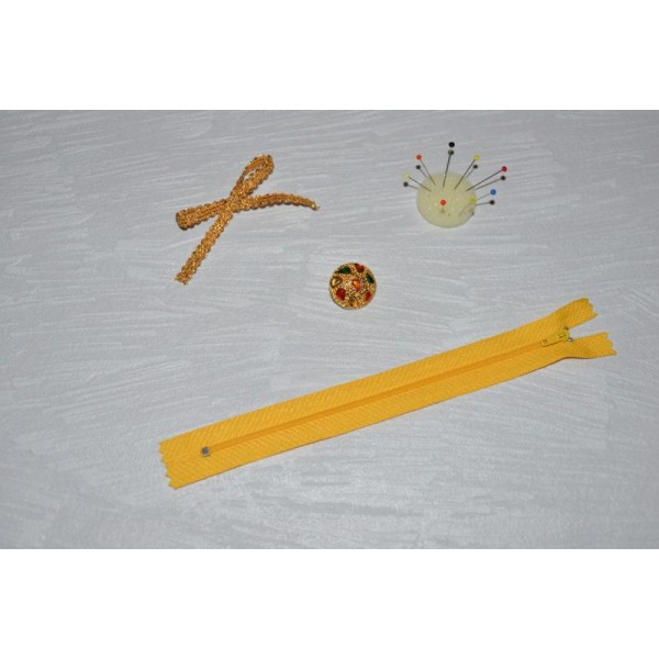 Zip// Fermeture éclair dentelle non séparable de 20 cm Couleur Jaune