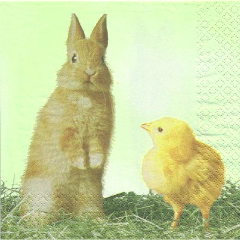 4 serviettes en papier d coupage collage 33 cm lapin poussin 72 serviette en papier animaux - 4 images 1 mot poussin lapin ...