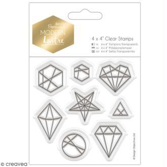 Tampons clear Docrafts Modern lustre - Formes Géométriques -  8 tampons