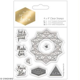 Tampons clear Docrafts Modern lustre - Voeux Prédécoupés -  8 tampons