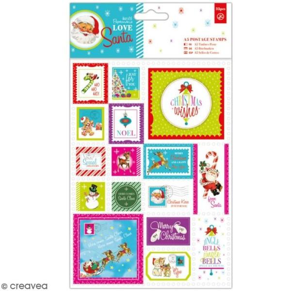 Timbres décoratifs Docrafts Love Santa - 32 pcs - Photo n°1
