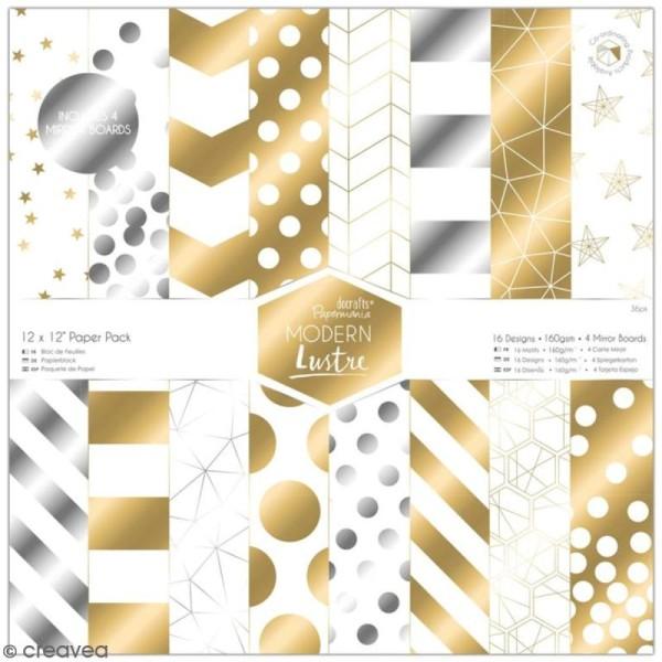 Papier scrapbooking Papermania - Modern Lustre - 36 feuilles 30,5 x 30,5 cm - Photo n°1