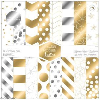 Papier scrapbooking Papermania - Modern Lustre - 36 feuilles 30,5 x 30,5 cm