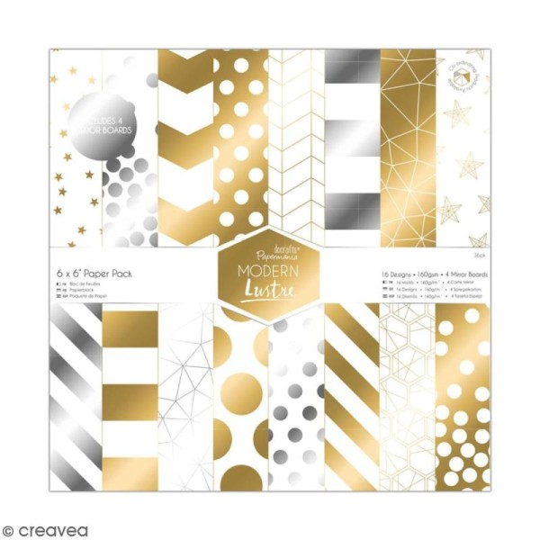 Papier scrapbooking Papermania - Modern Lustre - 36 feuilles 15 x 15 cm - Photo n°1