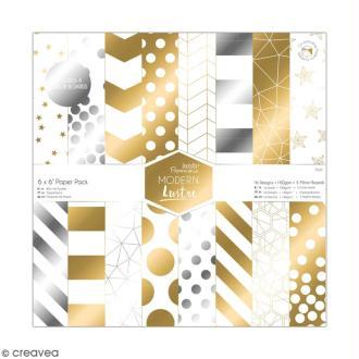 Papier scrapbooking Papermania - Modern Lustre - 36 feuilles 15 x 15 cm